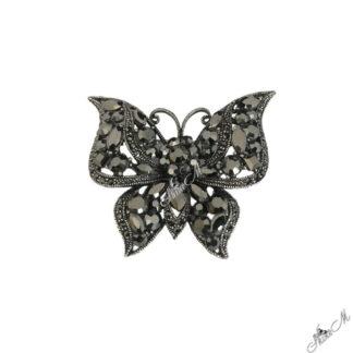 Брошка пеперуда с кристали в цвят хематит